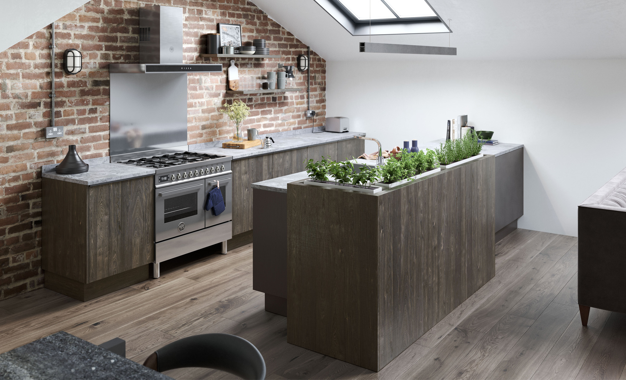 modern contemporary rezana stained carbon oak ferro painted iron kitchen hero